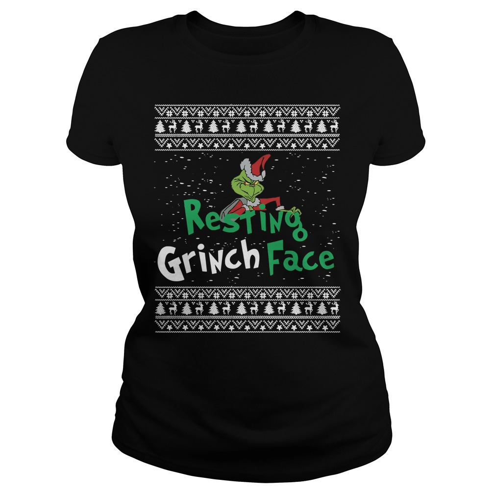 Resting Grinch face ugly Christmas Ladies tee