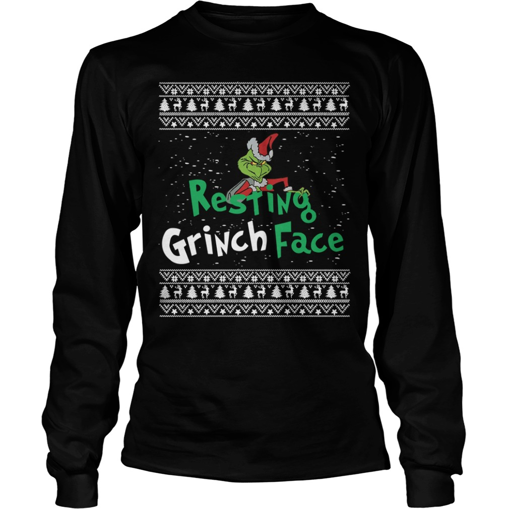 Resting Grinch face ugly Christmas Longsleeve tee