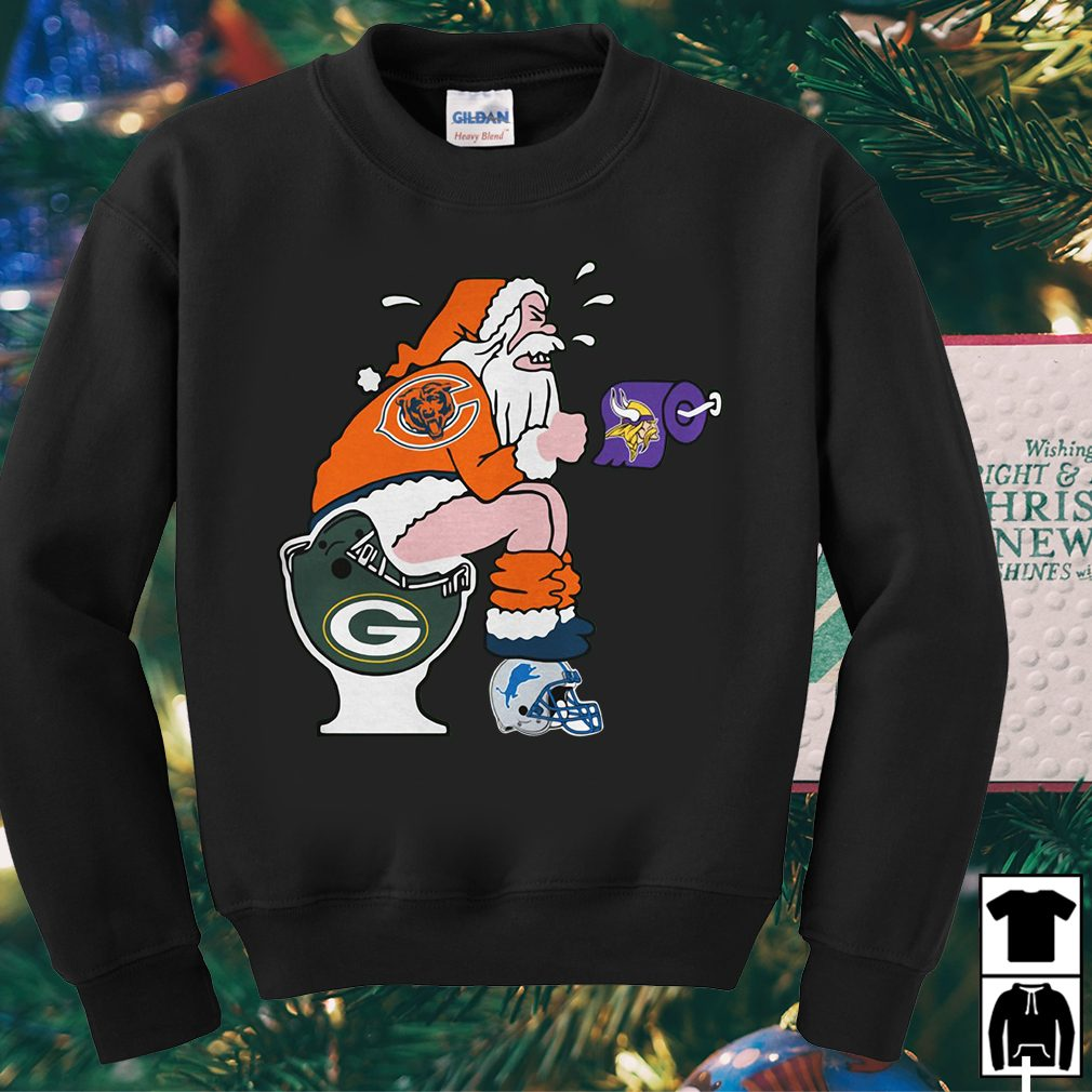 Santa Claus Chicago Bears Toilet Christmas Sweater Shirt And Hoodie