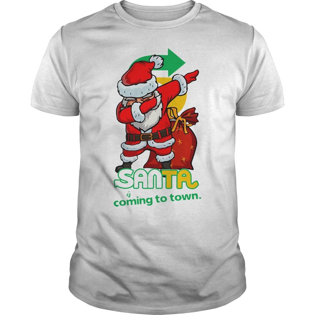Santa Claus Dabbing Santa coming to town Christmas Guys Shirt