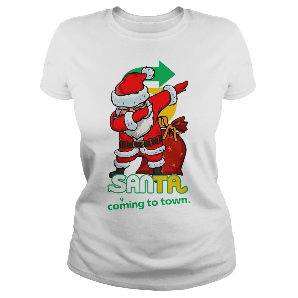 Santa Claus Dabbing Santa coming to town Christmas Ladies Tee