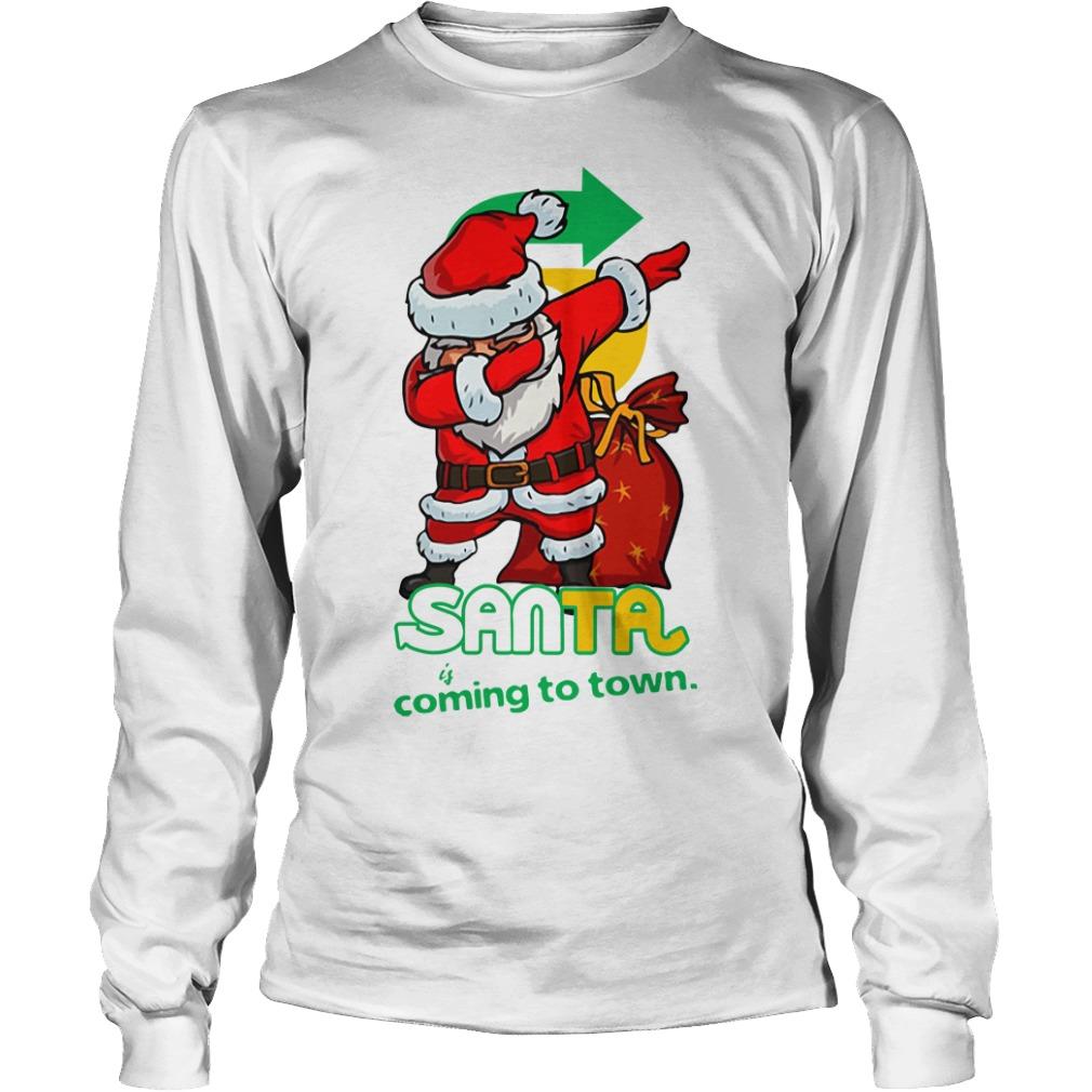 Santa Claus Dabbing Santa coming to town Christmas Longsleeve Tee
