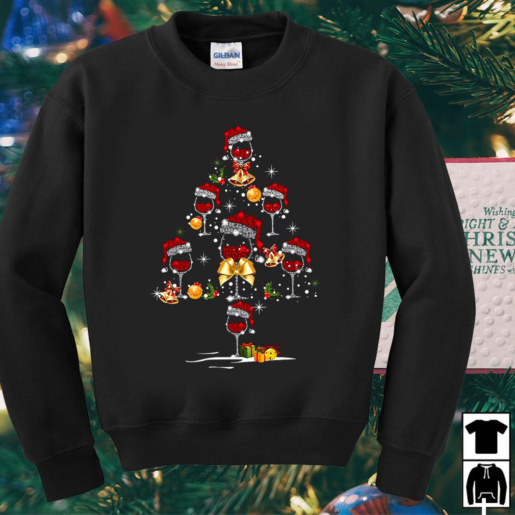 Santa hat wine glass Christmas tree sweater