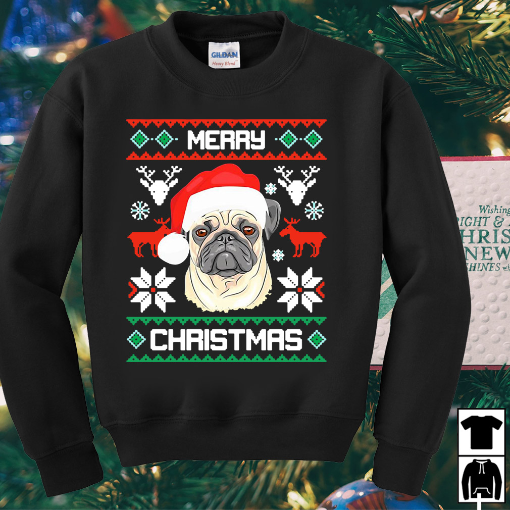 Santa Pug merry Christmas ugly sweater
