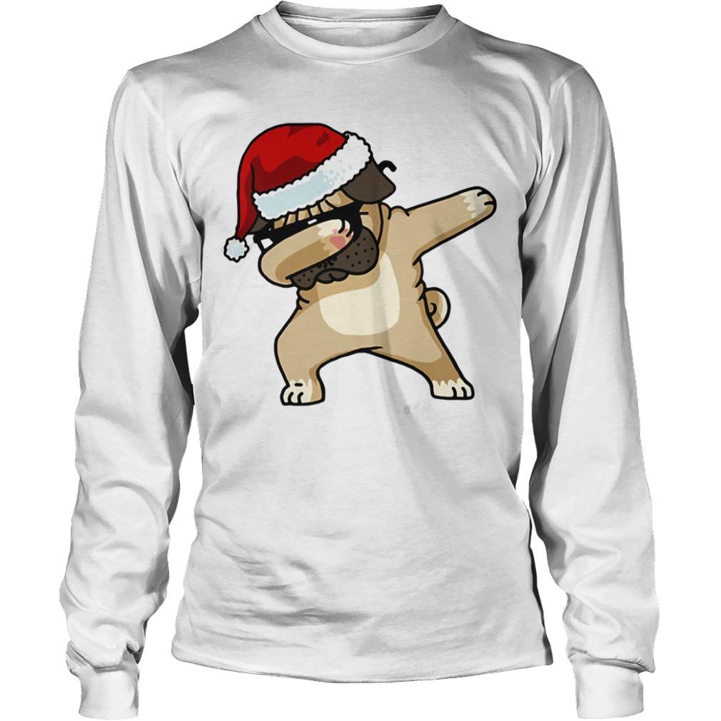 Santa Pug Puppy dabbing Christmas Longsleeve tee