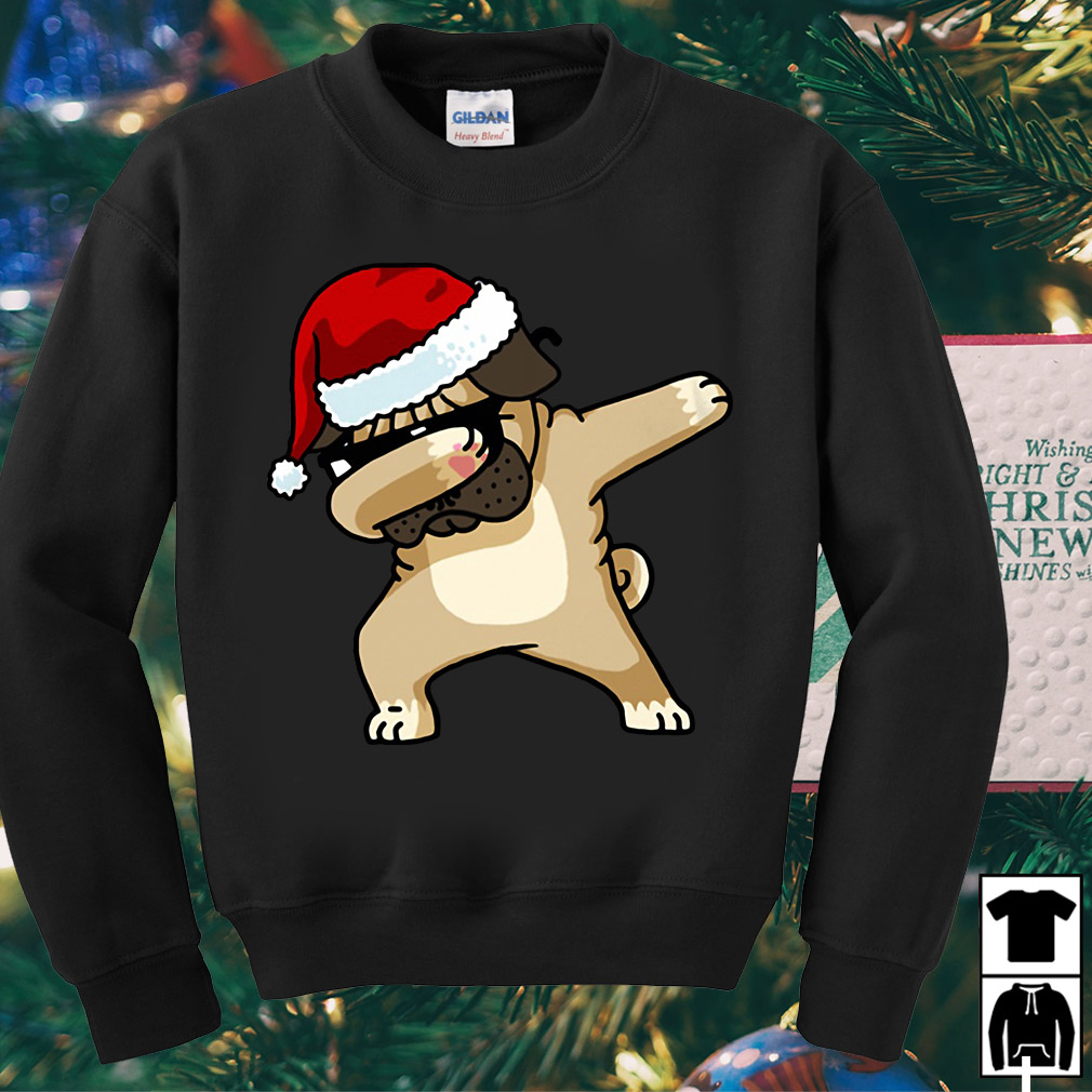 Santa Pug Puppy dabbing Christmas sweater