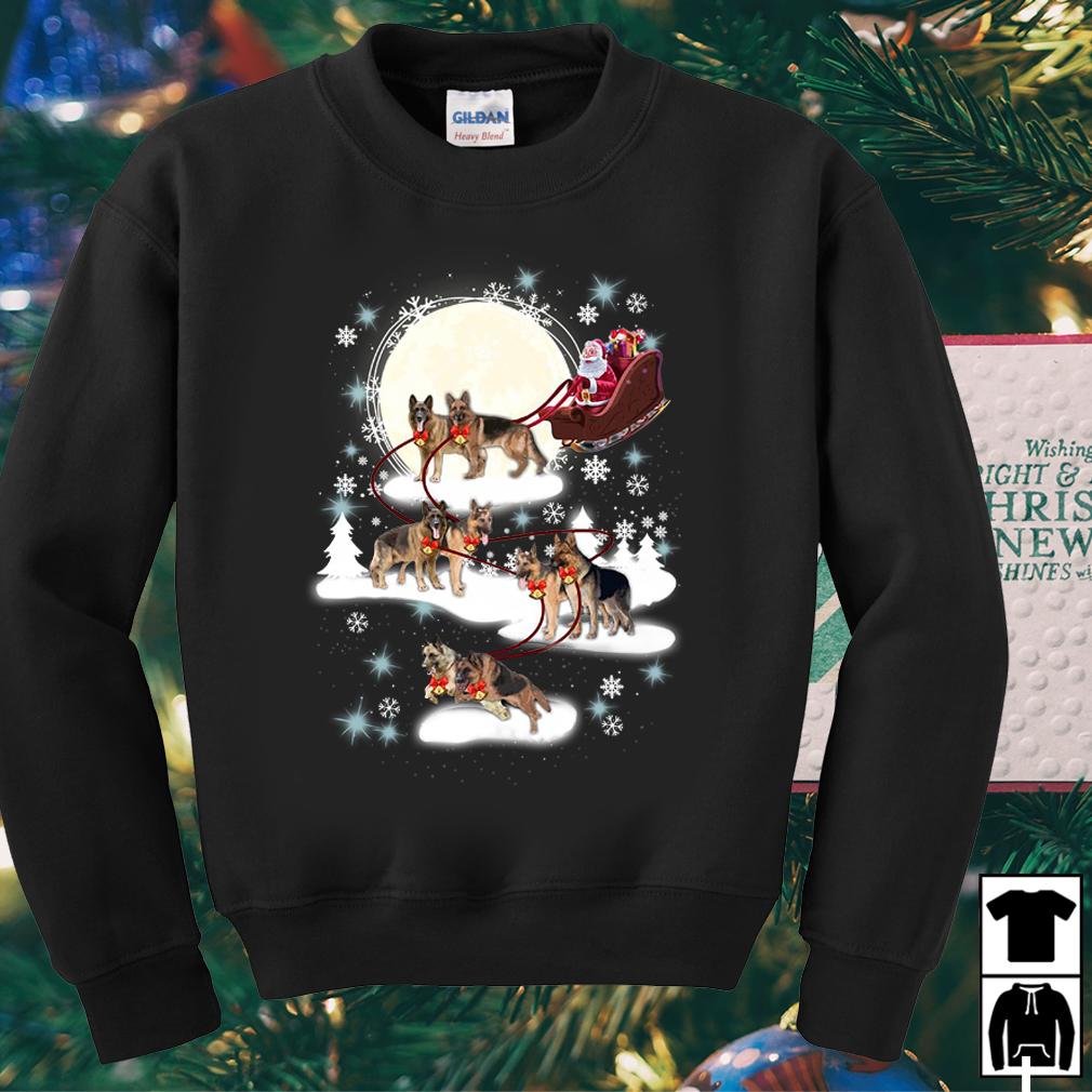 Santa riding German Shepherd Reindeer Christmas sweater