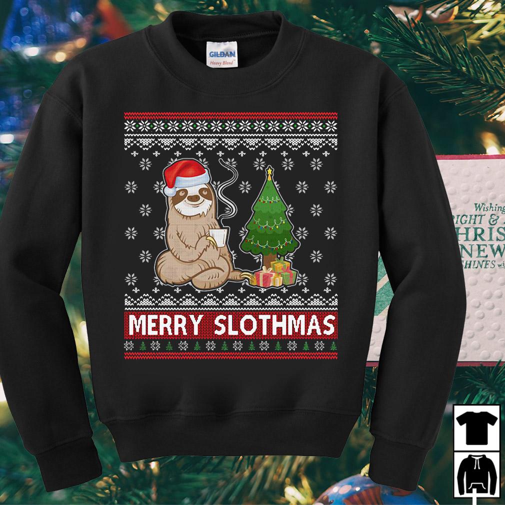 Santa Sloth drinking coffee merry slothmas Christmas sweater