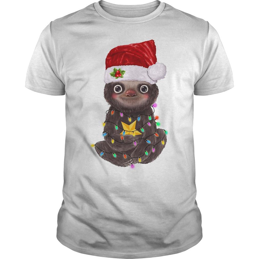 Sloth Santa Christmas light Guys Shirt