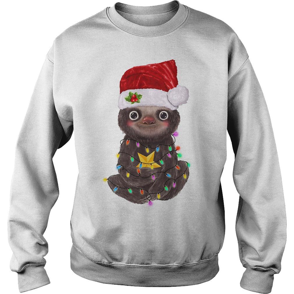Sloth Santa Christmas light Sweater