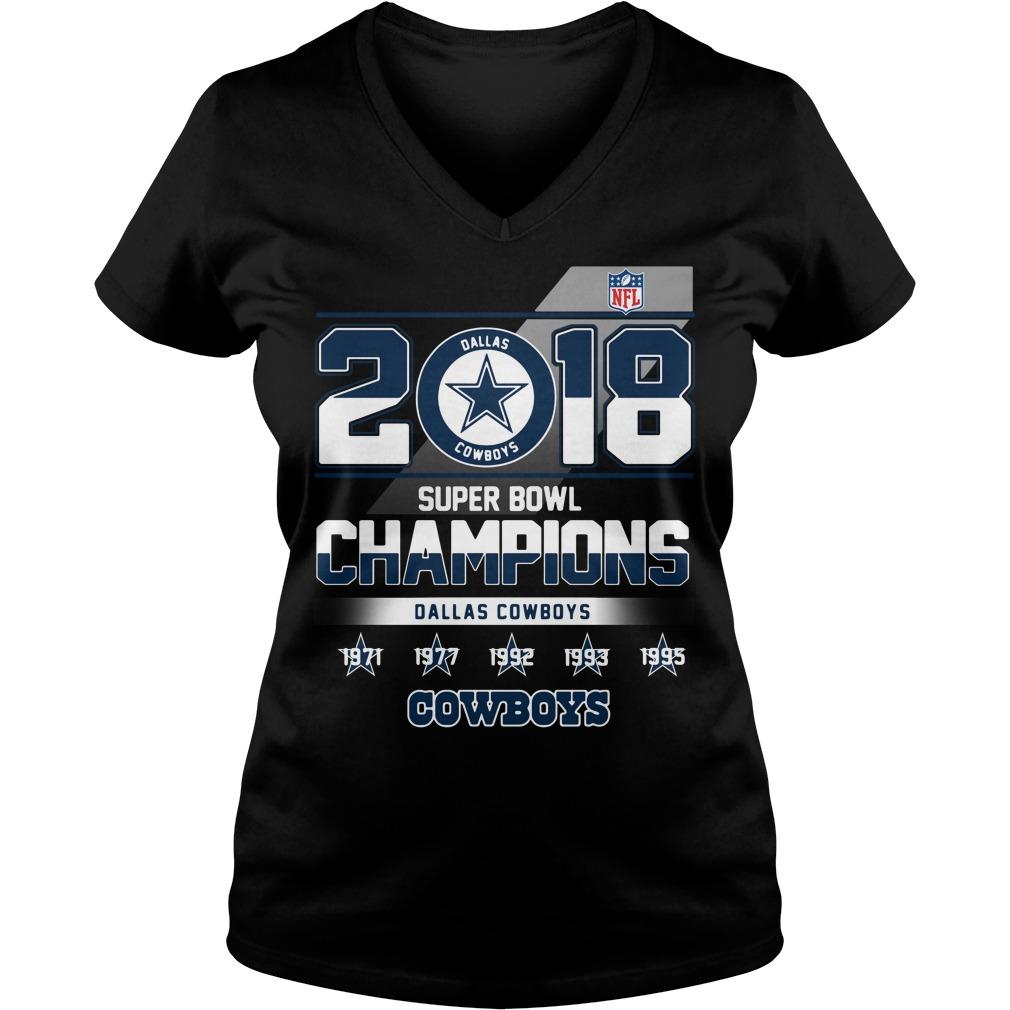 2018 Super Bowl Champions Dallas Cowboys V-neck T-shirt