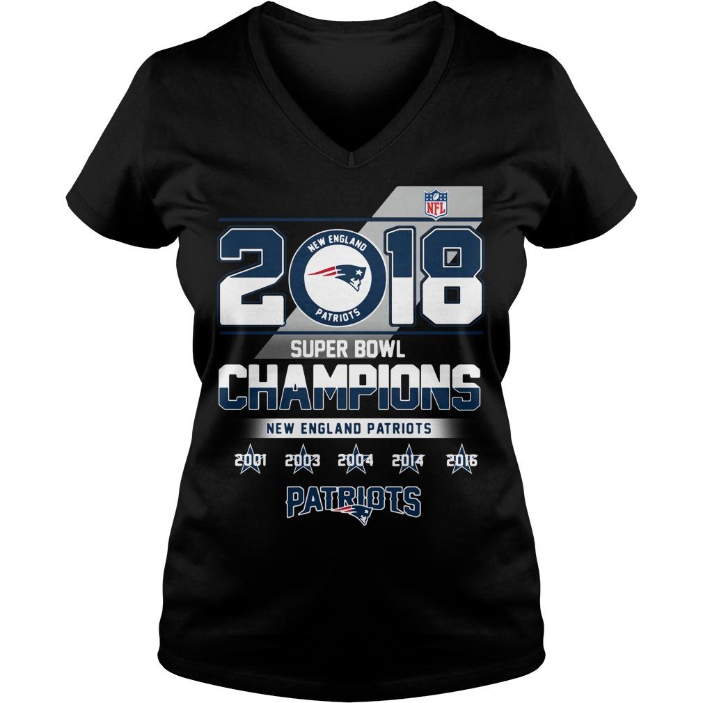 2018 Super Bowl Champions New England Patriots V-neck T-shirt