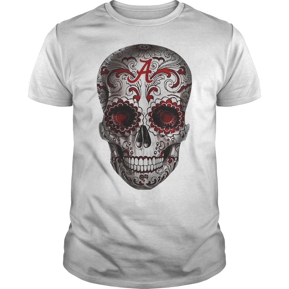 Alabama Crimson Tide flower skull Guys Shirt