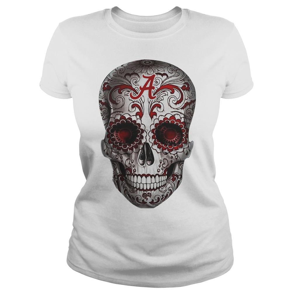 Alabama Crimson Tide flower skull Ladies Tee