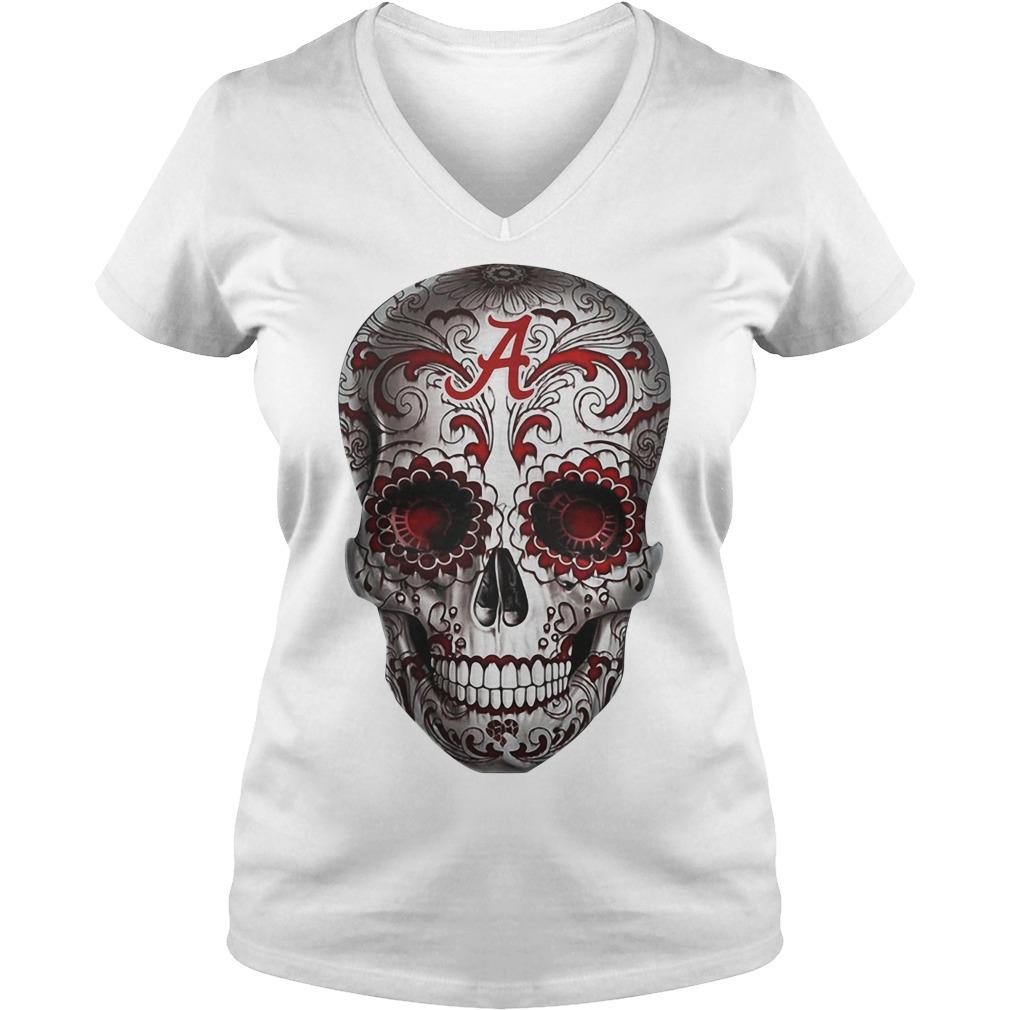 Alabama Crimson Tide flower skull V-neck t-shirt