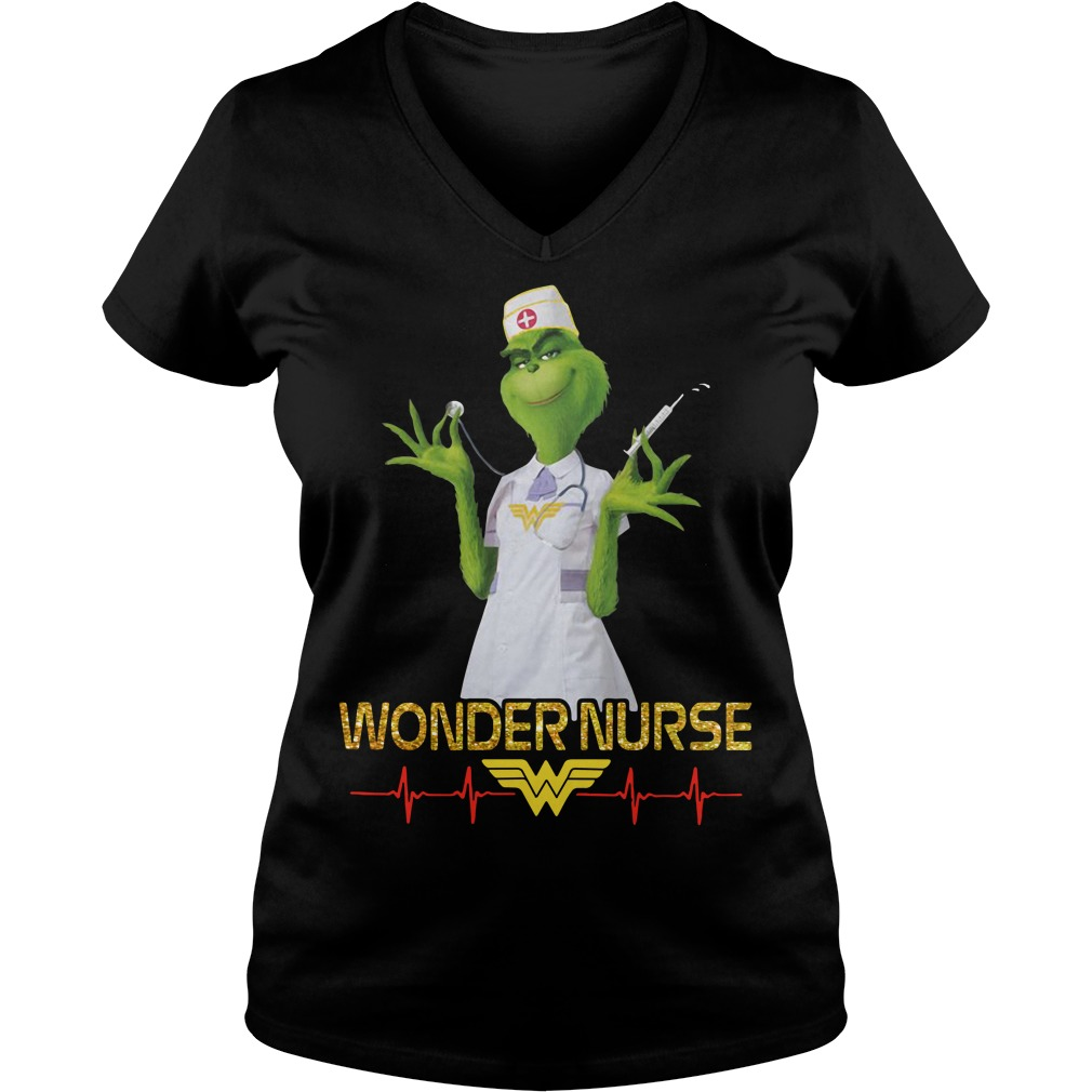 Beauty's Grinch wonder nurse V-neck T-shirt