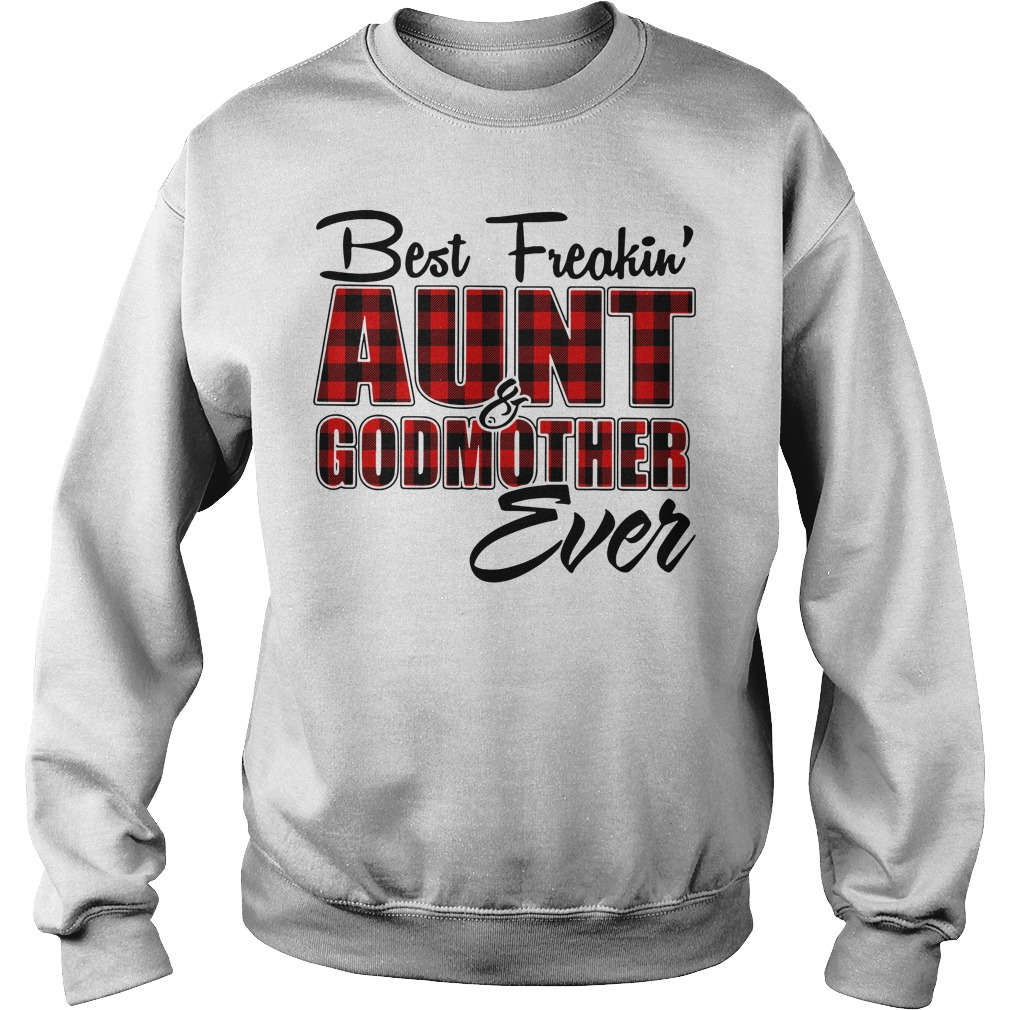 Best freakin aunt godmother ever buffalo plaid Sweater