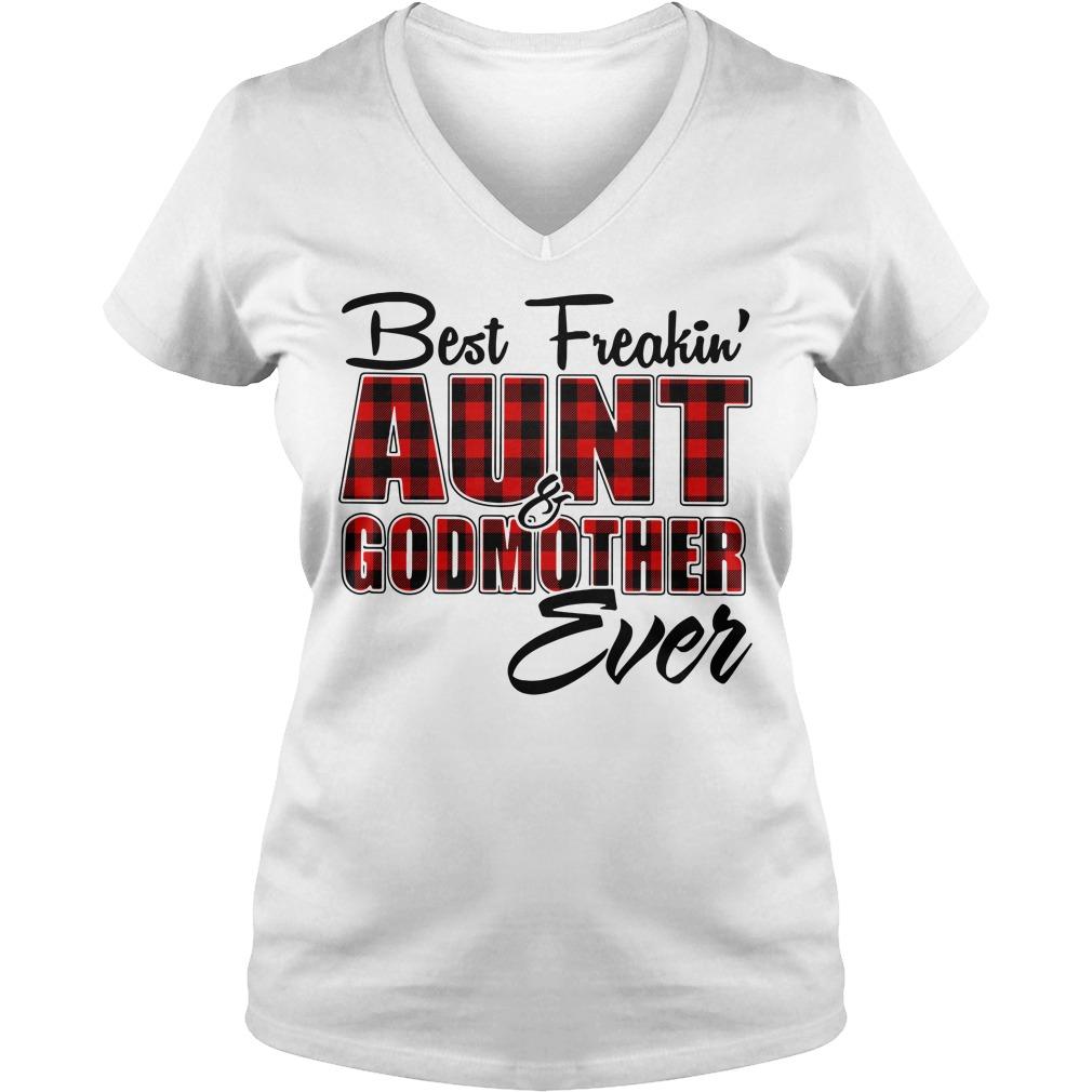 Best freakin aunt godmother ever buffalo plaid V-neck T-shirt