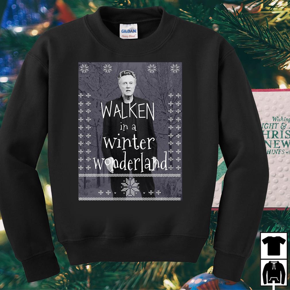 Christopher Walken in a winter wonderland Christmas sweater