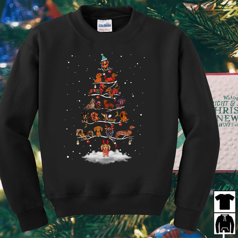 Dachshund Christmas tree sweater