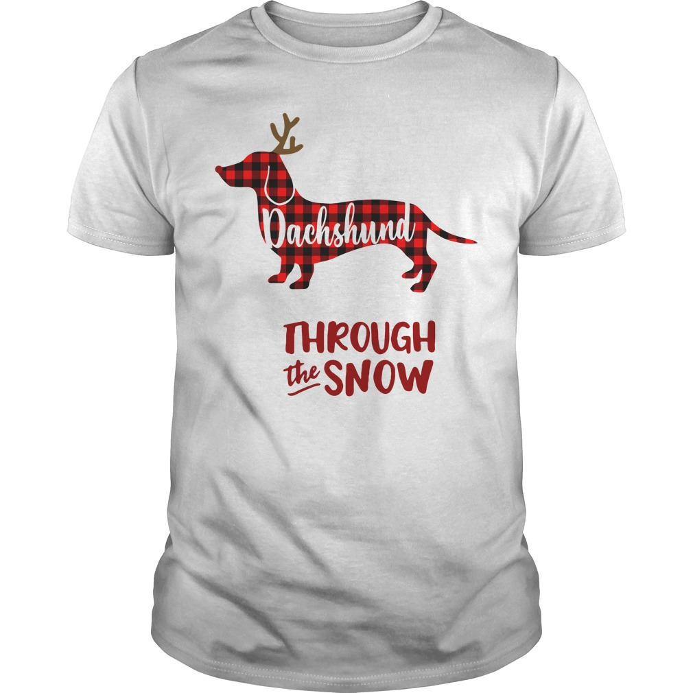 Dachshund through the snow Christmas Guys Shirt
