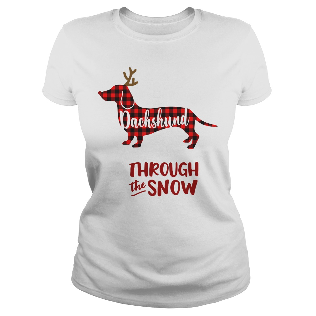 Dachshund through the snow Christmas Ladies tee
