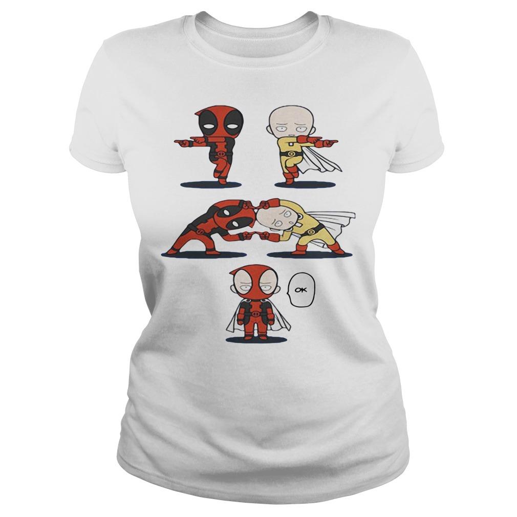 Deadpool and Saitama fusion dance One Punch Man Ladies Tee