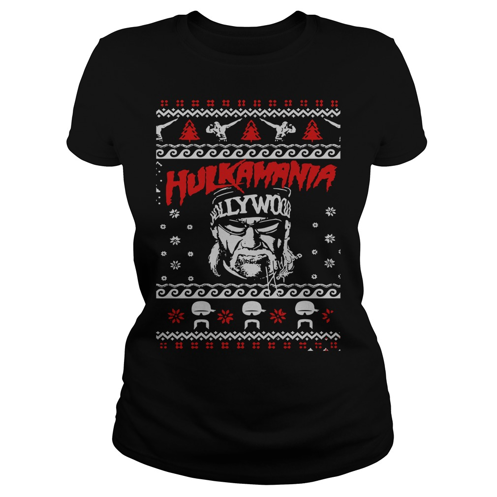 Hulk Hogan Hulkamania ugly Christmas Ladies Tee