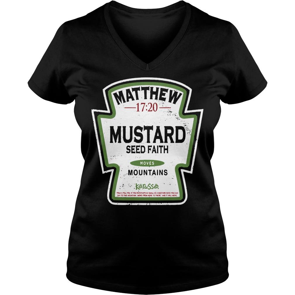 Matthew mustard seed faith mountains V-neck T-shirt