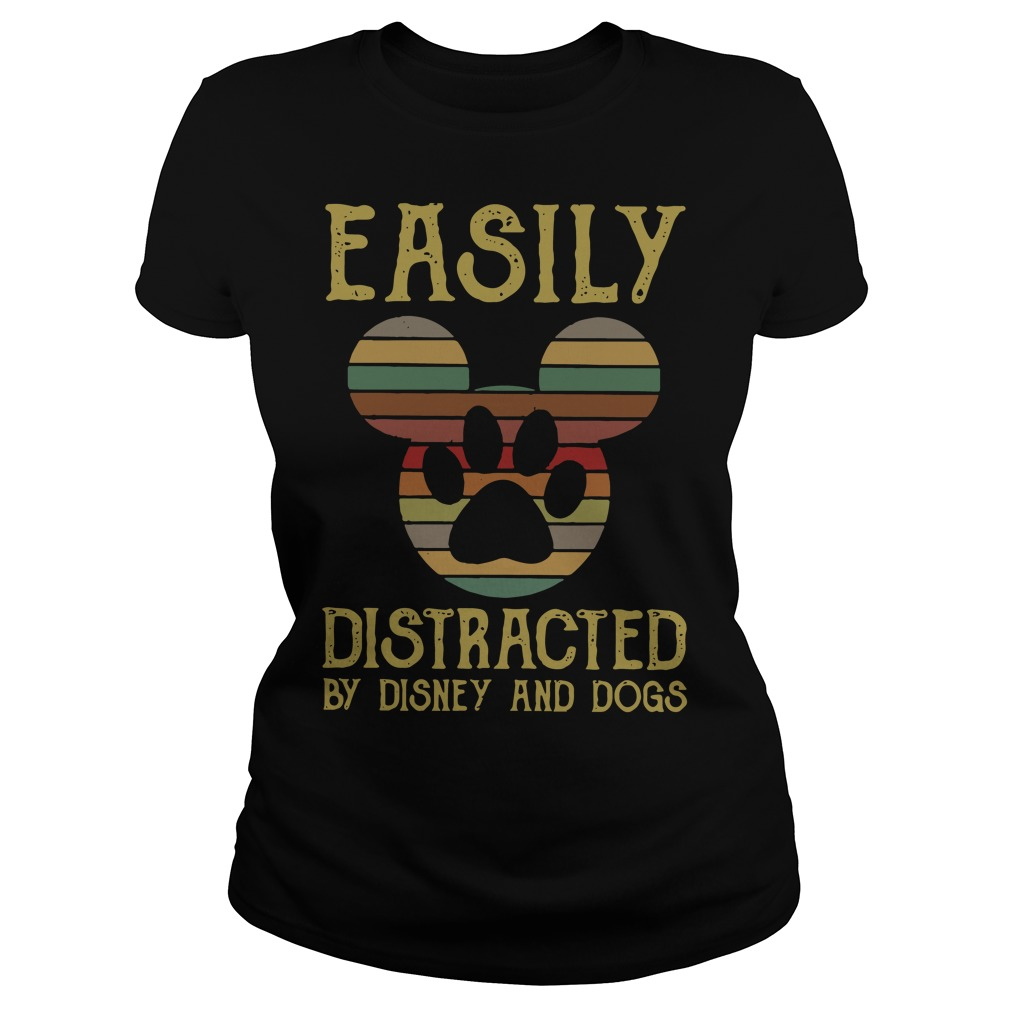 Funny Mickey easily distracted by disney and dogs Ladies Tee