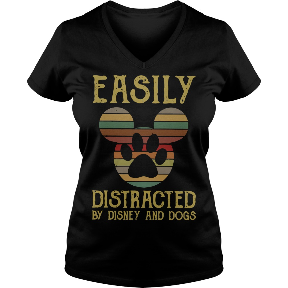 Special Mickey easily distracted by disney and dogs V-neck T-shirt