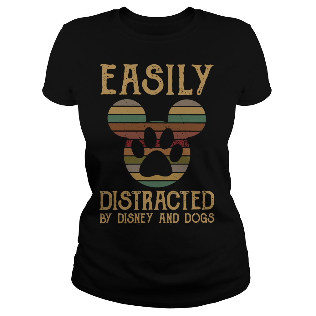 Mickey easily distracted by disney and dogs Ladies Tee