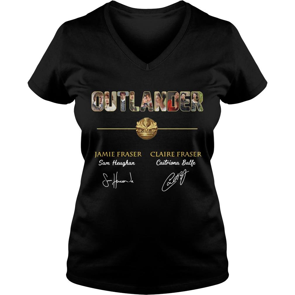 Outlander Jamie Fraser and Claire Fraser V-neck T-shirt