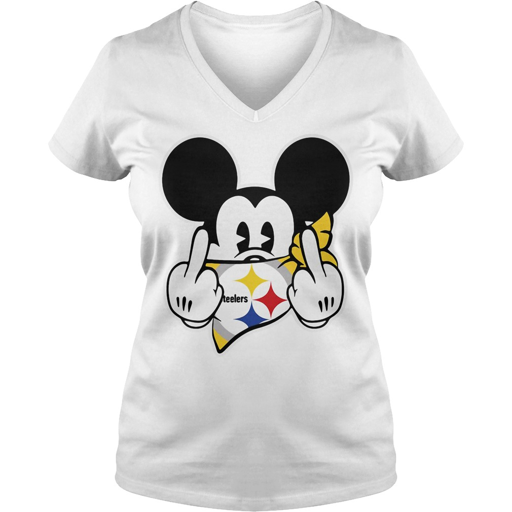 Pittsburgh Steelers Mickey Mouse fuck V-neck T-shirt