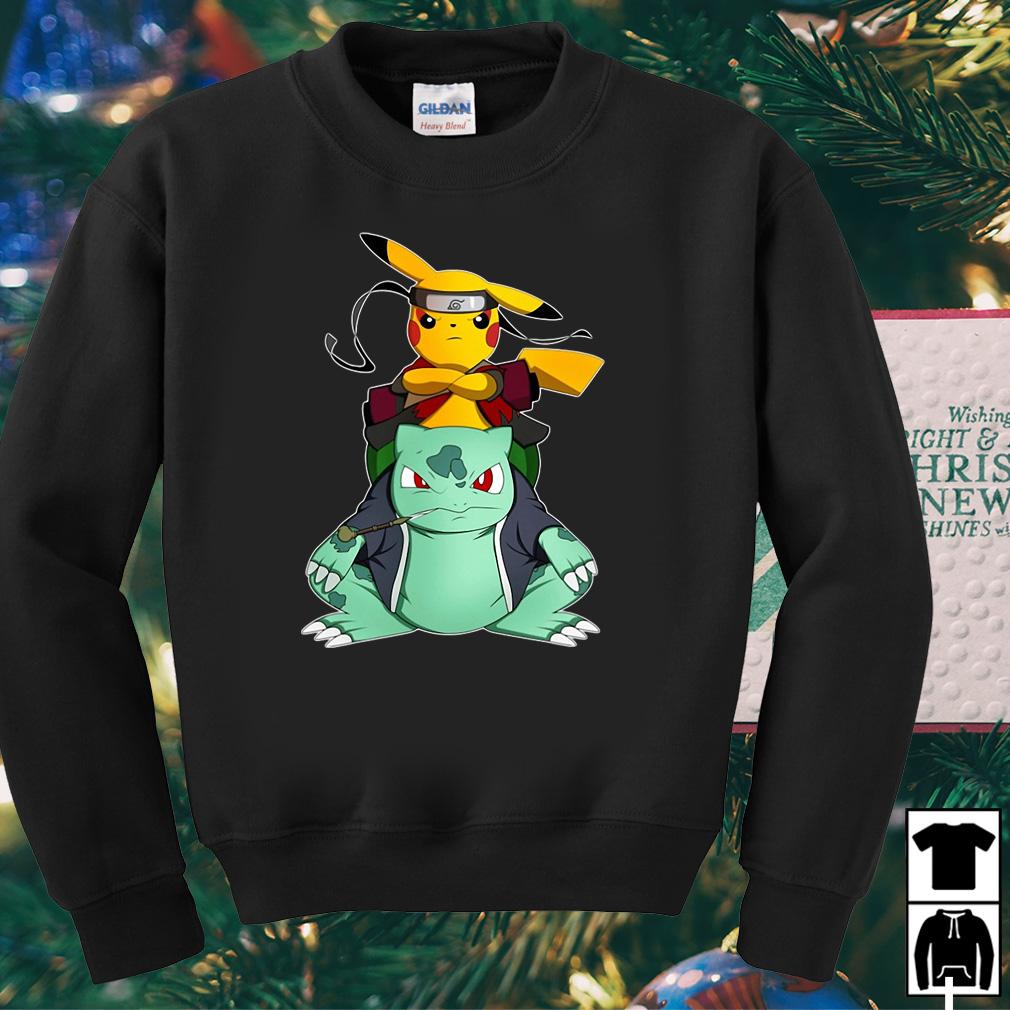 Pokemon and Bulbasaur Naruto and Gamakichi shirt