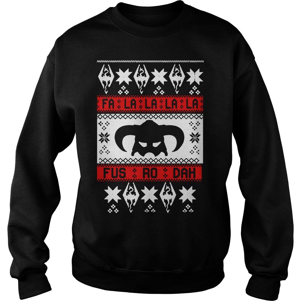 Skyrim Fa La La La La Fus Ro Dah ugly Christmas Sweater