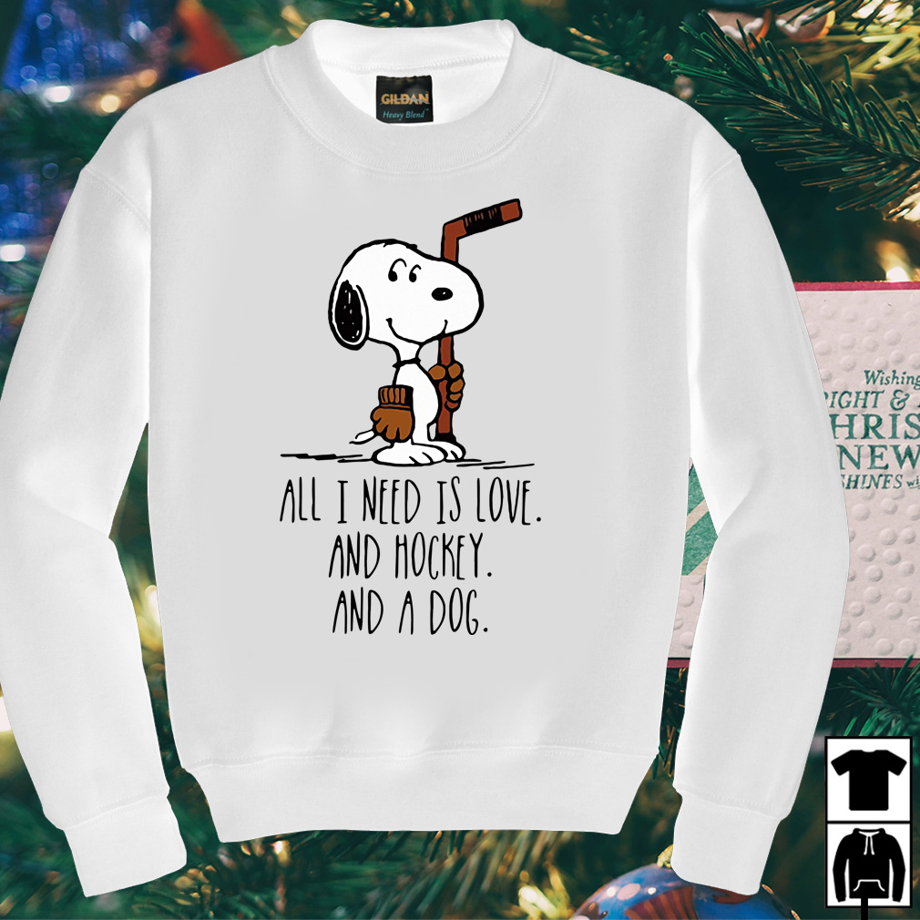 Snoopy all I need is love and hockey and a dog shirt