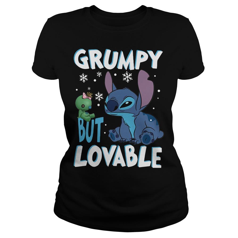 Stitch Grumpy but lovable Christmas Ladies Tee