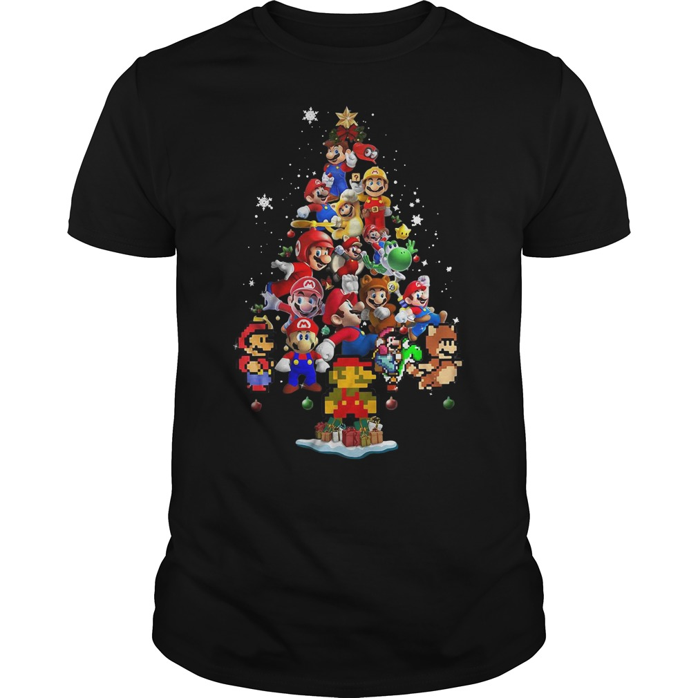 Super Mario Christmas tree Guys Shirt