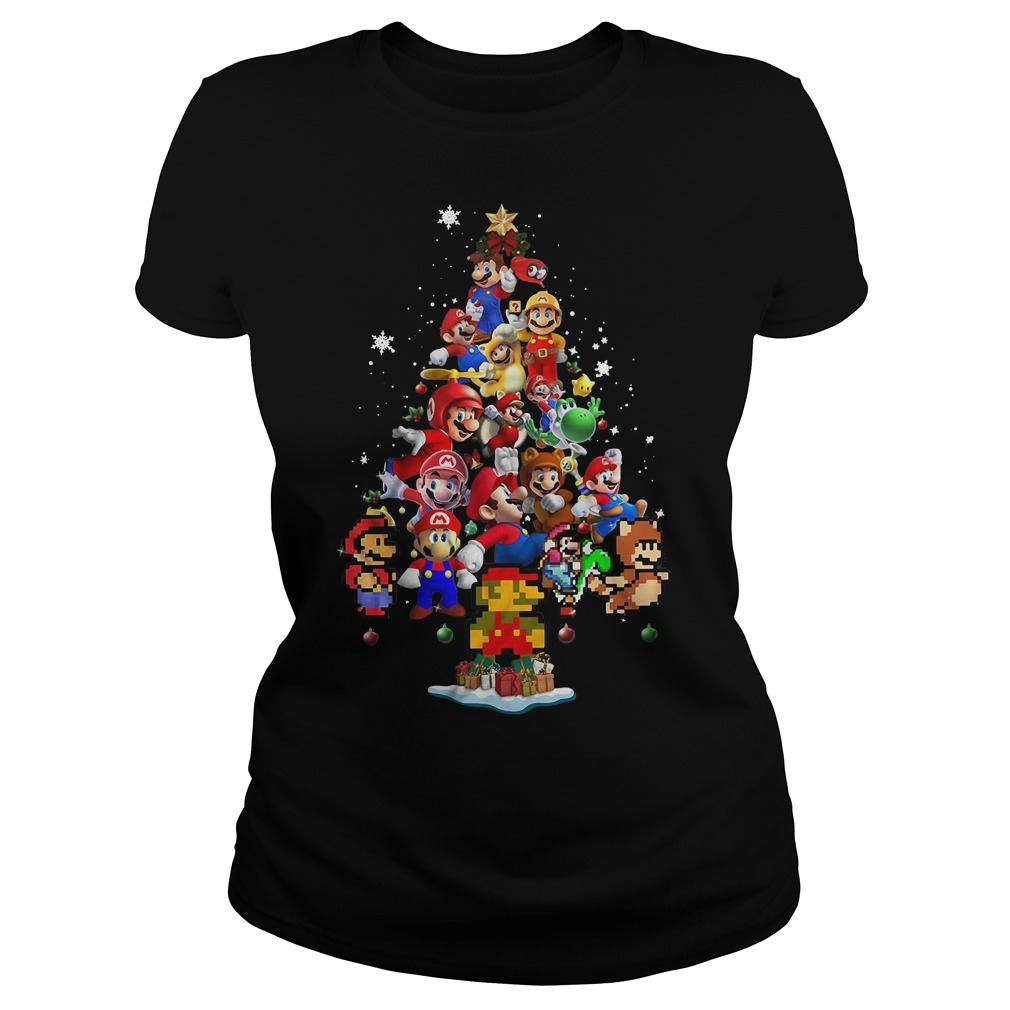 Super Mario Christmas tree Ladies Tee
