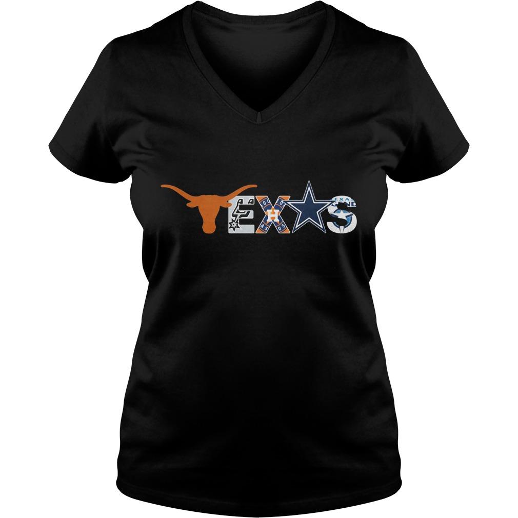 Texas Longhorns San Antonio Spurs Houston Astros Dallas Cowboys V-neck T-shirt