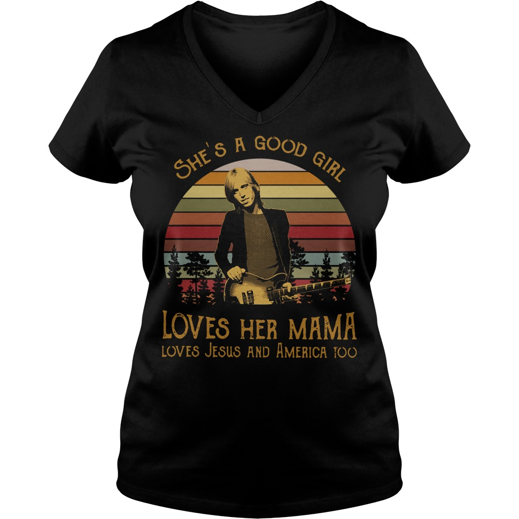 Tom Petty She's a good girl loves her mama vintage V-neck T-shirt