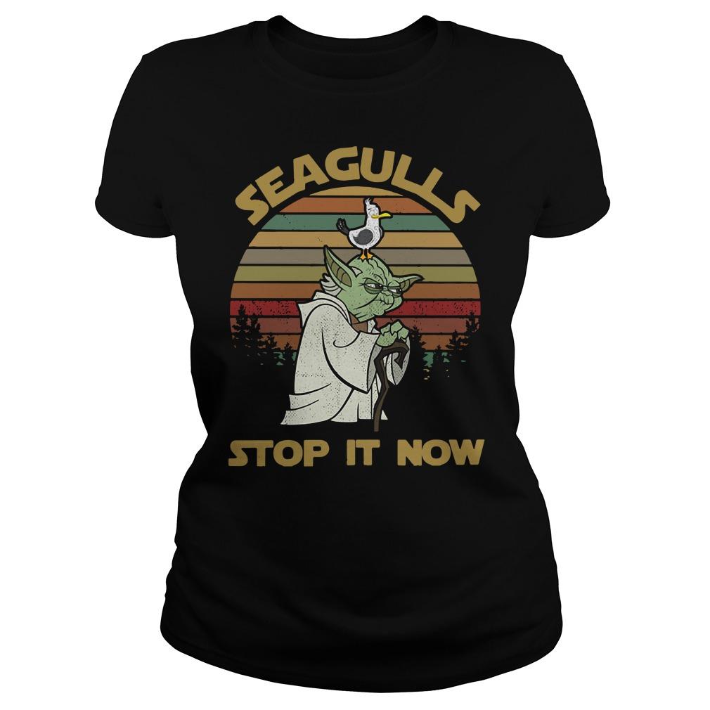 Vintage Seagulls stop it now Ladies tee