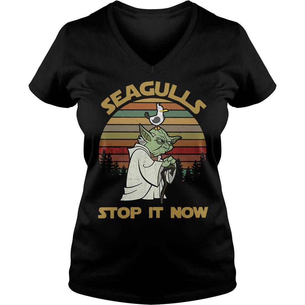Vintage Seagulls stop it now V-neck T-shirt