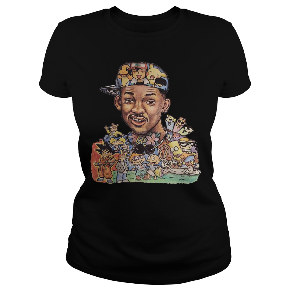 Will Smith and cartoon characters Ladies Tee