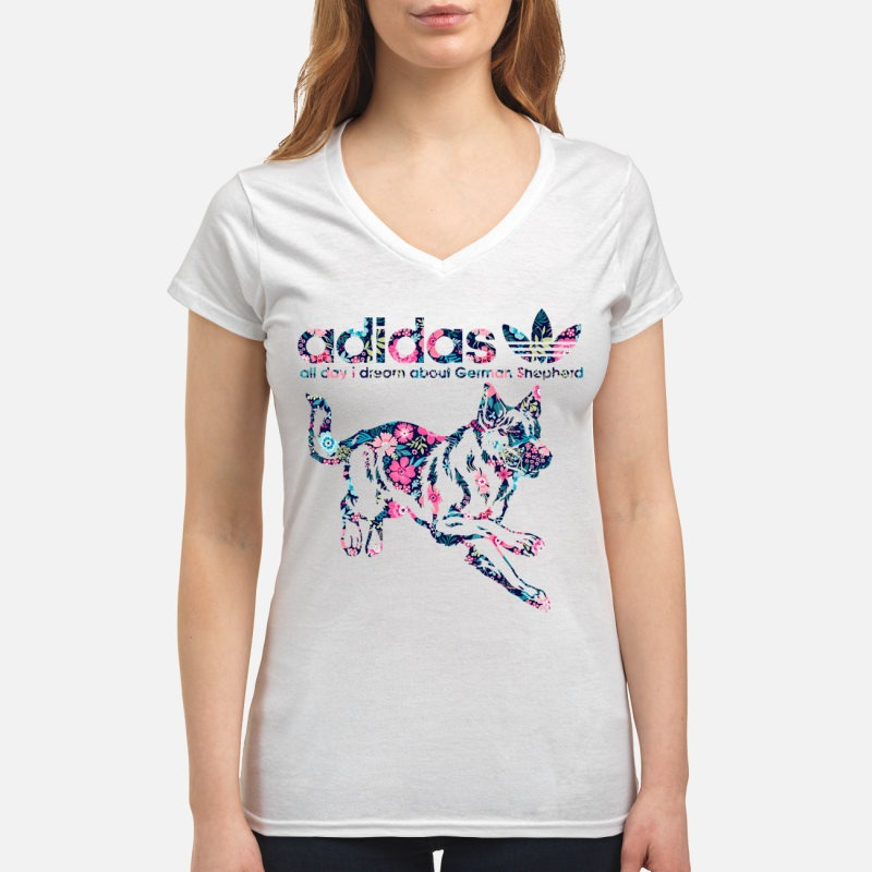 Adidas all day I dream about German Shepherd V-neck T-shirt