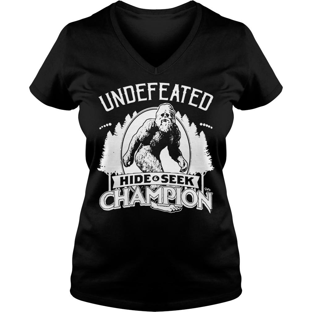 Bigfoot Undefeated hide and seek champion V-neck T-shirt