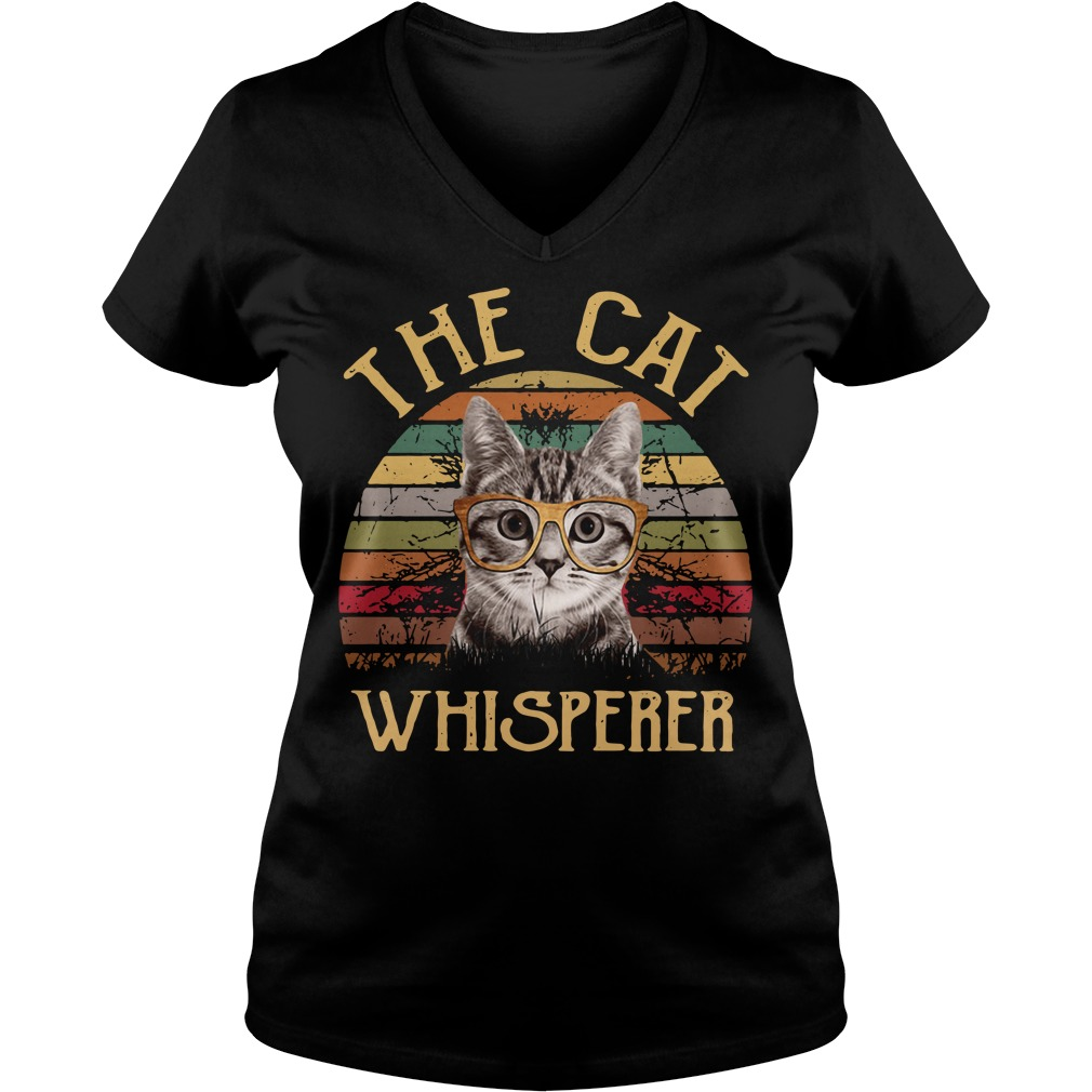The cat whisperer vintage V-neck T-shirt