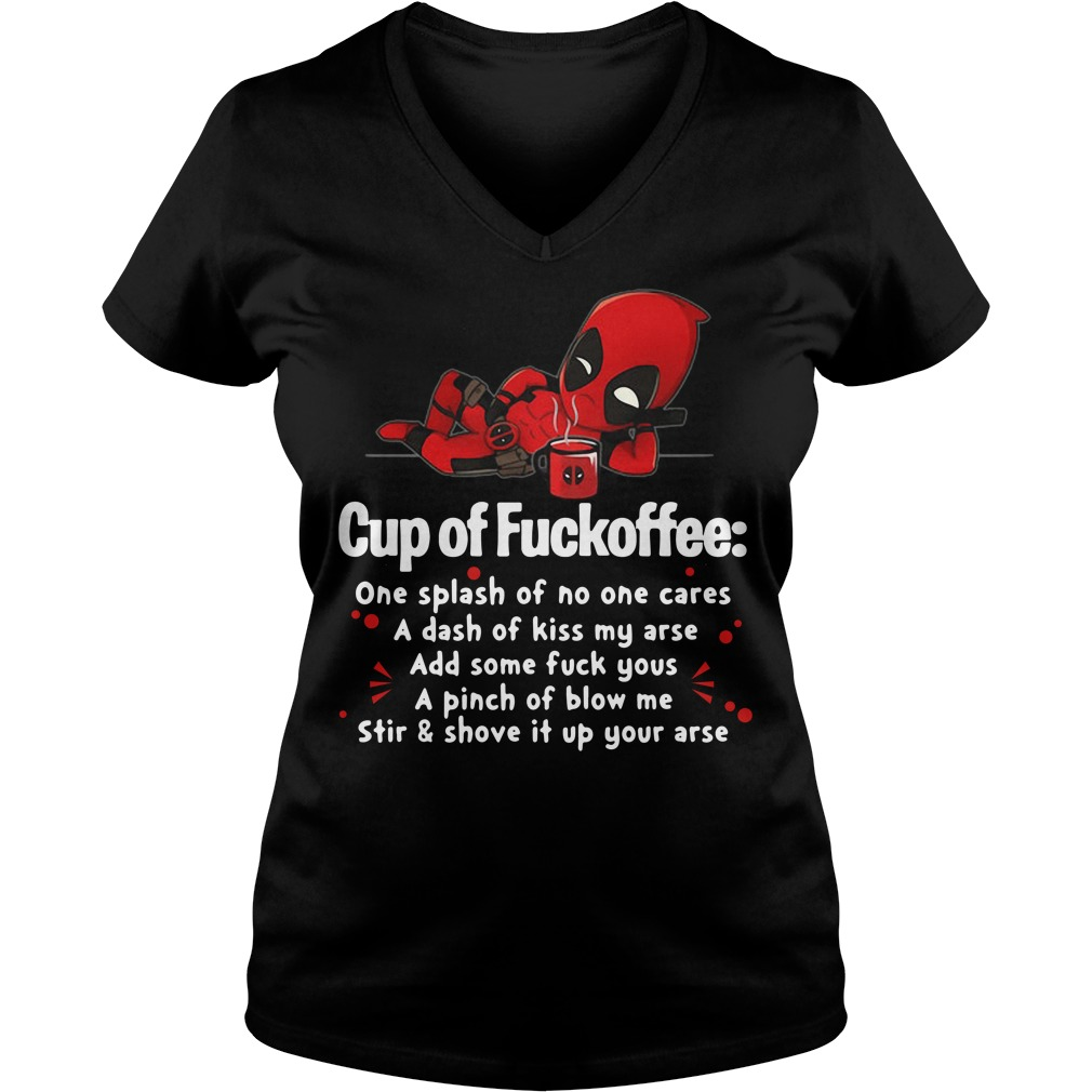 Deadpool cup of fuckoffee one splash of no one cares V-neck T-shirt