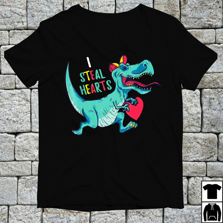 Dinosaur I steal hearts Valentines day shirt